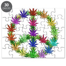 Rainbow Peace Marijuana Leaf Art Puzzle