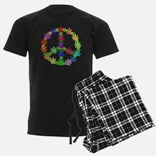 Rainbow Peace Marijuana Leaf Art Pajamas