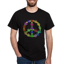 Rainbow Peace Marijuana Leaf Art T-Shirt