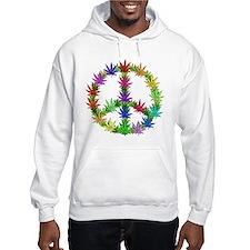 Rainbow Peace Marijuana Leaf Art Hoodie