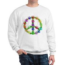 Rainbow Peace Marijuana Leaf Art Sweatshirt