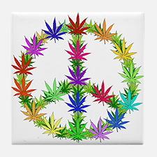 Rainbow Peace Marijuana Leaf Art Tile Coaster