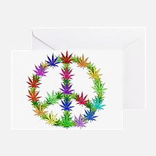 Rainbow Peace Marijuana Leaf Art Greeting Card