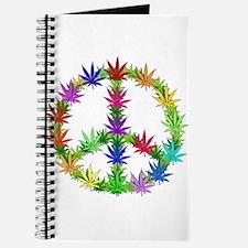 Rainbow Peace Marijuana Leaf Art Journal