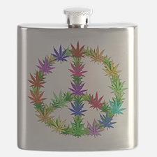 Rainbow Peace Marijuana Leaf Art Flask