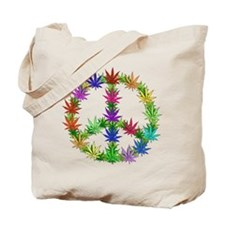 Rainbow Peace Marijuana Leaf Art Tote Bag