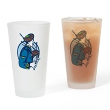Bagpiper Bagpipes Scotsman Retro Drinking Glass