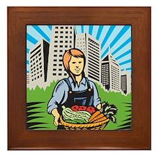Female Organic Farmer Harvest Building Retro Frame