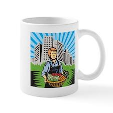 Female Organic Farmer Harvest Building Retro Mug
