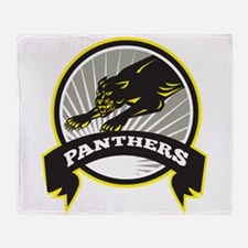 Panther Big Cat Growling Throw Blanket