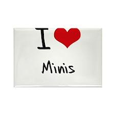I Love Minis Rectangle Magnet