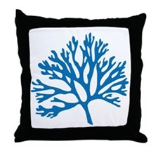blue sea fan coral drawing Throw Pillow