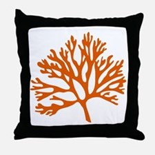 red sea fan coral drawing Throw Pillow
