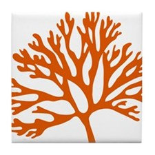 red sea fan coral drawing Tile Coaster