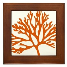 red sea fan coral drawing Framed Tile