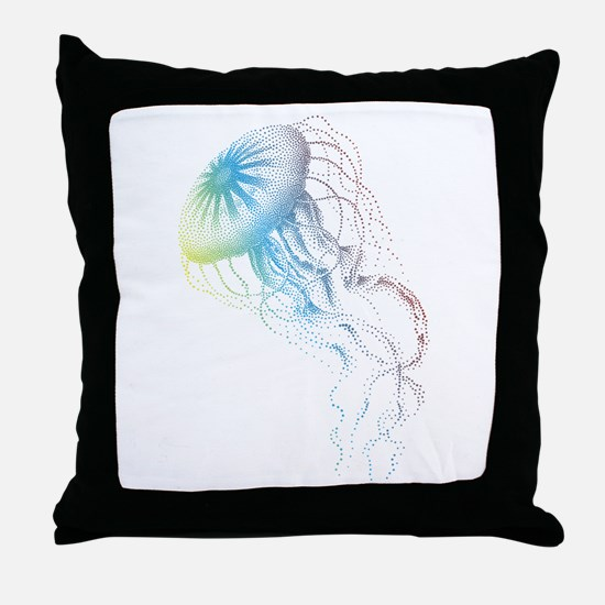 colorful jellyfish silhouette Throw Pillow