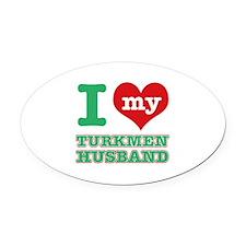 I love my Turkmen husband Oval Car Magnet