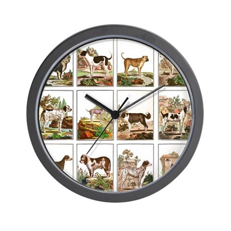 Vintage Dog Image Collage Wall Clock by VintageLevelDesigns