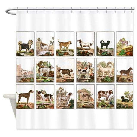 Dog Collection In Vintage Style Shower Curtain by