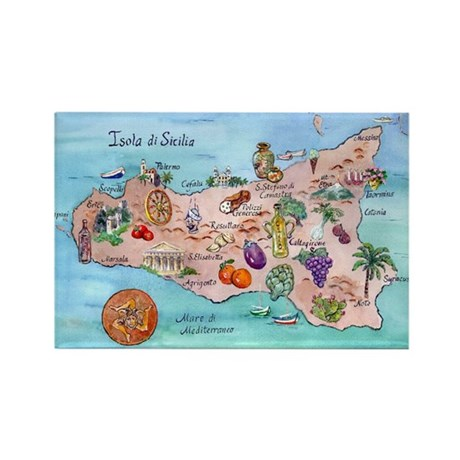 Map of Sicily Rectangle Magnet (10 pack)
