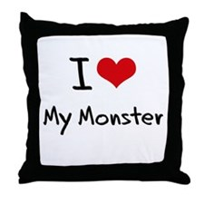 I Love My Monster Throw Pillow