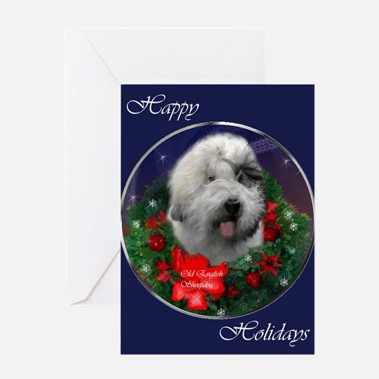 Old English Sheepdog Christmas Greeting Card