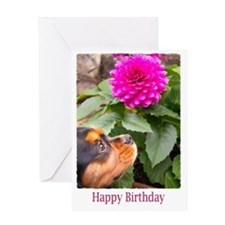 Birthday Wishes With Dahlia And Dog Greeting Card