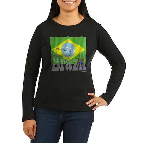Silky Flag of Brazil Women's Long Sleeve Dark T-Sh