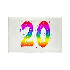 Confetti Rainbow 20 Rectangle Magnet