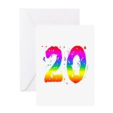 Confetti Rainbow 20 Greeting Card