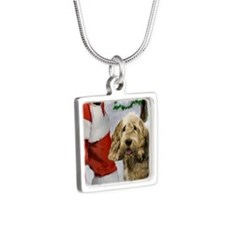 Otterhound Christmas Silver Square Necklace