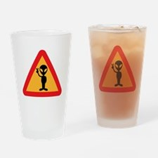 Space Alien Sign Drinking Glass