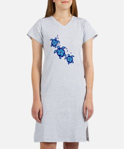 Blue Hibiscus Honu Turtles Women's Nightshirt
