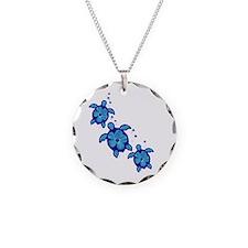Blue Hibiscus Honu Turtles Necklace
