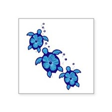Blue Hibiscus Honu Turtles Sticker