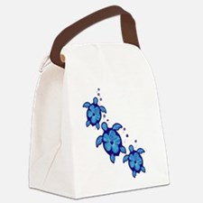 Blue Hibiscus Honu Turtles Canvas Lunch Bag