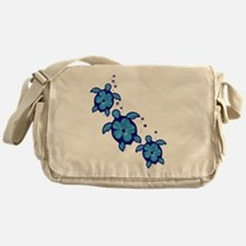 Blue Hibiscus Honu Turtles Messenger Bag