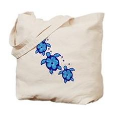 Blue Hibiscus Honu Turtles Tote Bag