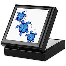Blue Hibiscus Honu Turtles Keepsake Box