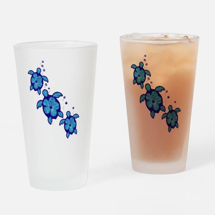 Blue Hibiscus Honu Turtles Drinking Glass