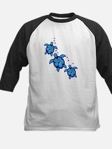 Blue Hibiscus Honu Turtles Baseball Jersey