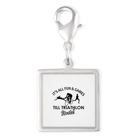 Triathlon gear and merchandise Silver Square Charm