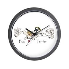 Playful Fox Terrier Wall Clock
