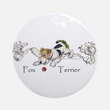 Playful Fox Terrier Ornament (Round)