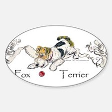 Playful Fox Terrier Oval Decal