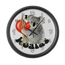 I Love Koalas Large Wall Clock