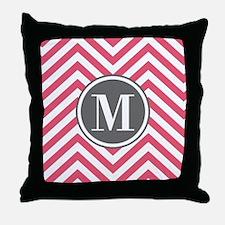 Pink Monogram Zigzag Pattern Throw Pillow