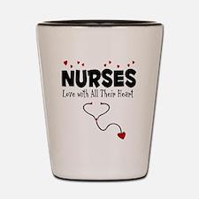 Nurses Love With All Their Heart Shot Glass