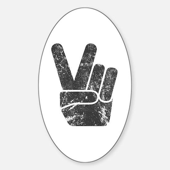 Vintage Peace Sign Sticker (Oval)