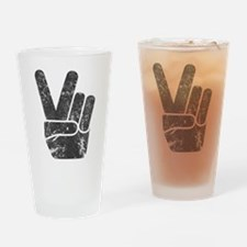 Vintage Peace Sign Drinking Glass